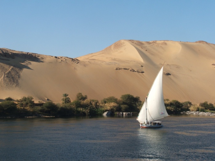 A felucca floating by